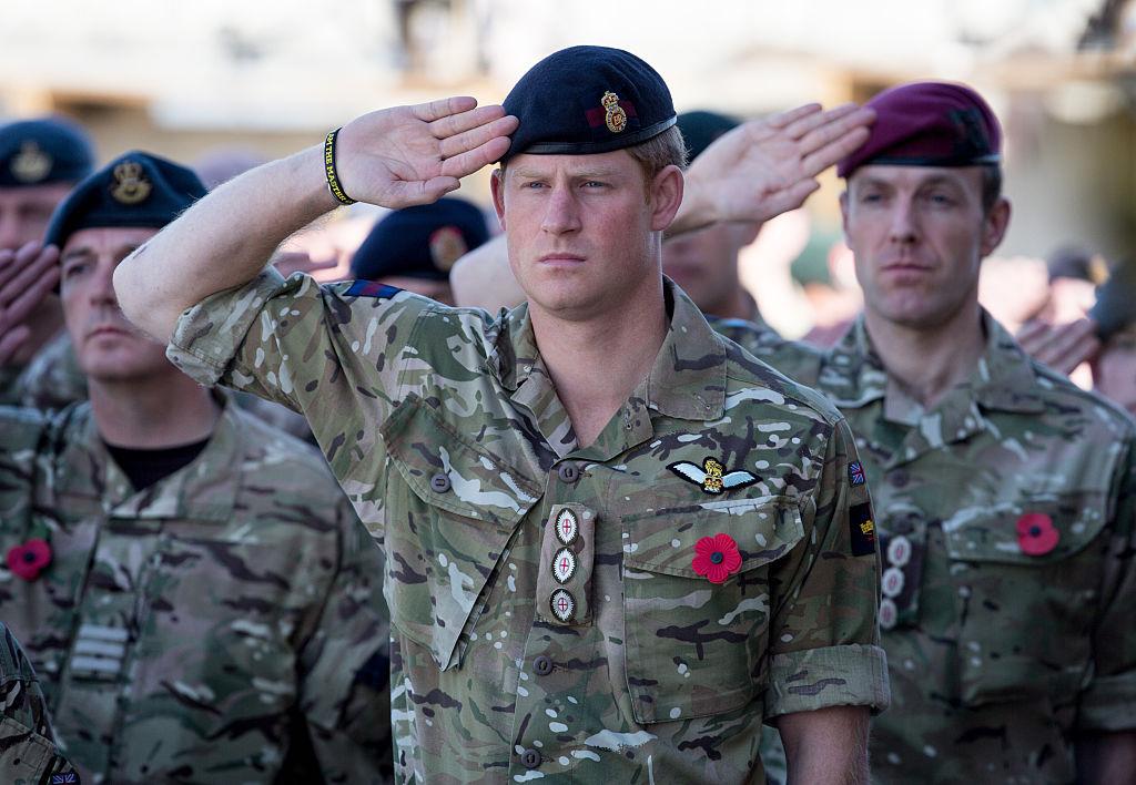 Prince Harry Salutes Fatigues Remembrance Sunday Kandahar 2014