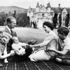 Queen Elizabeth and Prince Philip With Their Children at Balmoral Castle September 1960
