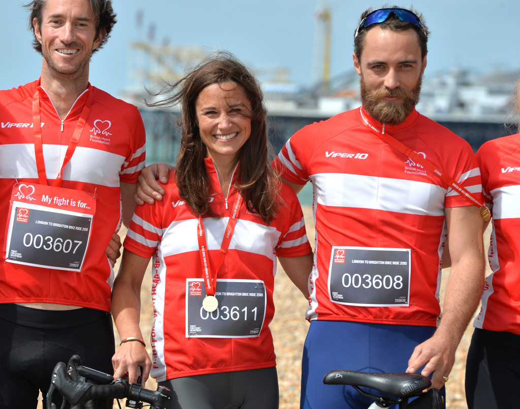 BRIGHTON, ENGLAND - JUNE 21:  Pippa Middleton and James Middleton Finish the London To Brighton Bike Ride For British Heart Foundation on June 21, 2015 in Brighton, England.  (Photo by Anthony Harvey/Getty Images)