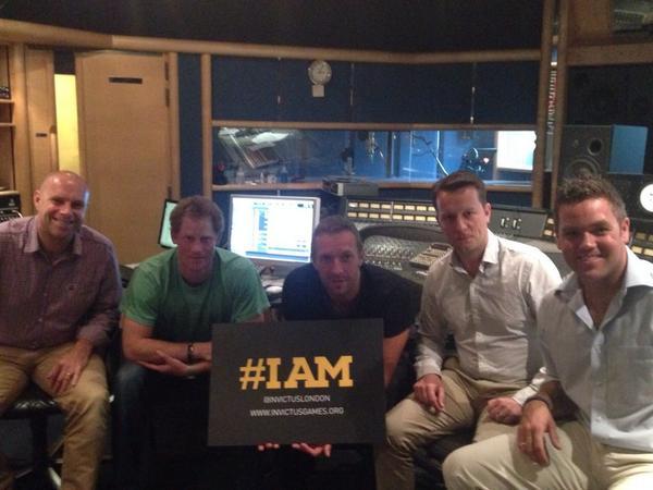 Prince Harry Chris Martin Studio Invictus Games Anthem