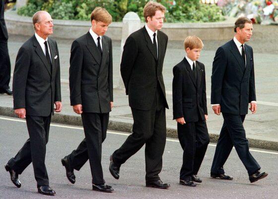 Princess Diana's Sons Walk Behind Her Cortege on September 6, 1997