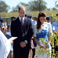 Prince Williamn and Kate Middleton Bow Their Heads Prayer at a Memorial Garden at the Royal Australian Airforce Base 2014