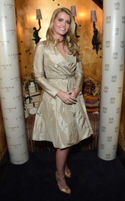 Lady Kitty Spencer Champagne Long Sleeved Dress Links of London 25th Anniversay Party London2015