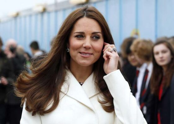 Kate Middleton White Coat Pregnant Portsmouth UK Ben Ainslie Racing Headquarters