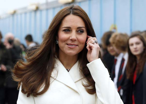 Kate Middleton White Coat Pregnant Portsmouth UK Ben Ainslie Racing Headquarters