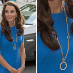 Kate Middleton Blue Stella McCartney Dress Cartier Necklace National Portrait Gallery