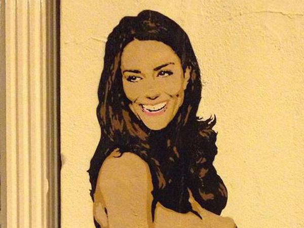 Pregnant Kate Middleton North London Street Graffiti