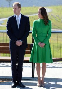 Kate Middleton Catherine Walker Green Coat Prince William National Portrait Gallery Australia