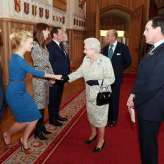 Carey Mulligan Curtsies to the Queen: British Film Industry Reception 2013 Windsor Castle