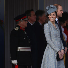 Kate Middleton Smiles Grey Acorn Hat Welcome For President of China 2014