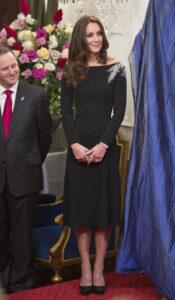 Kate Middleton Jenny Packham Black Dress With Silver Fern