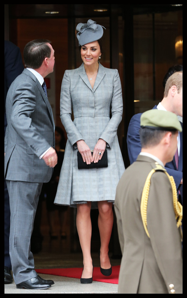 Kate Middleton Grey Plaid Alexander McQueen Coat Singapore State Visit