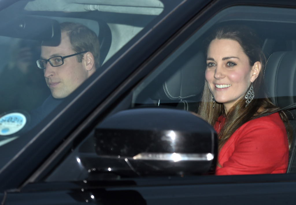 Kate Middleton Red Dress Prince William Driving Buckingham Palace Pre-Christmas Luncheon