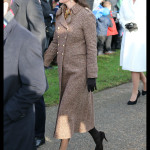 Kate Middleton Brown Coat Leaves Church Christmas 2014