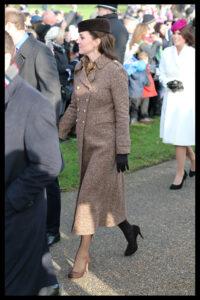 Kate Middleton Brown Coat Leaves Church Christmas 2014