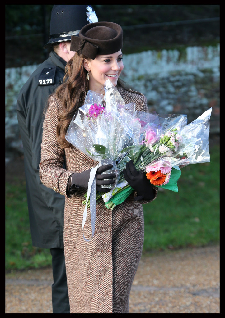 Kate Middleton Chocolate Betty Boop Hat Brown Coat Church Service Christmas day 2014