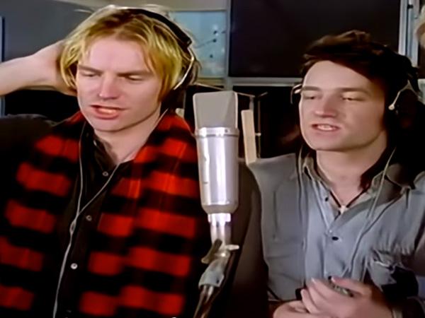 Bono Sting Singing Do They Know It's Christmas