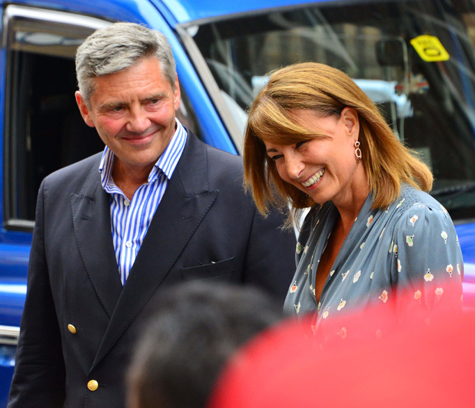 Carole Middleton Smiles Michael MIddleton Talks To Reporters
