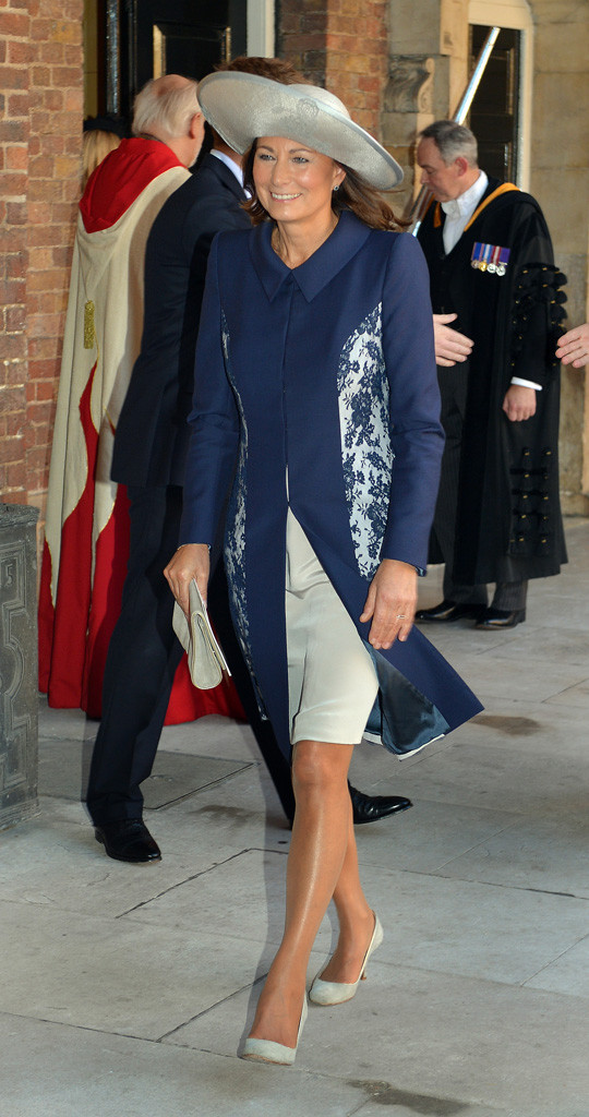 Carole Middleton Blue Coat St. James's Palace Prince George Christening