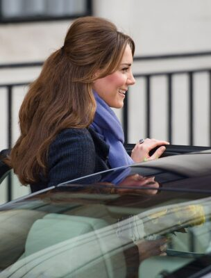 Kate Middleton DVF Coat Leaves King Edward VII Hospital Morning Sickness 2012