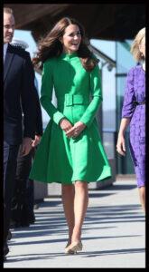 Kate Middleton Green Catherine Walker Coat Dress Canberra