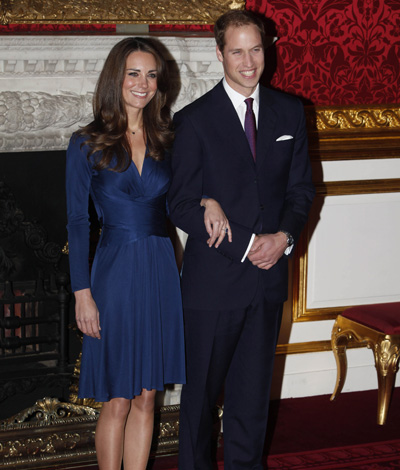 Prince William Suit Kate Middleton Issa Wrap Dress Clarence House Engagement