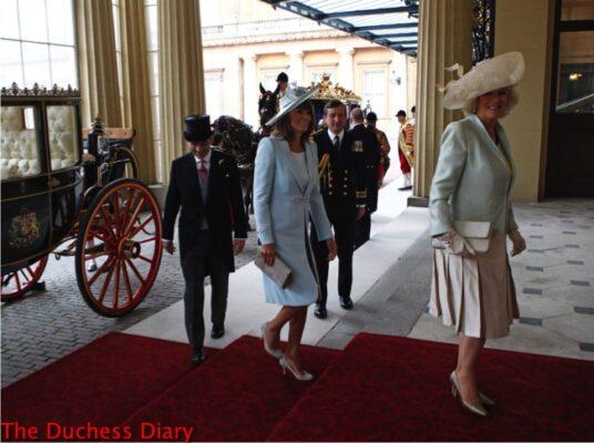 michael middleton carole middleton duchess cornwall walk into buckingham palace royal wedding