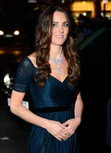 Kate Middleton Jenny Packham Silk Gown Queen Elizabeth Necklace