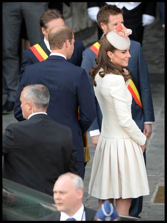 Kate Middleton Cream Alexander McQueen Coat Mons Belgium WW1 Commemoration