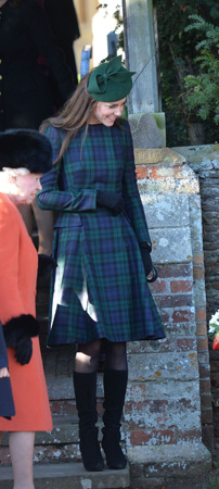 Kate Middleton Black Watch Tartan Alexander McQueen Coat Christmas 2013