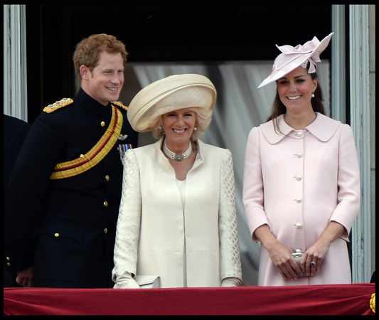 Kate Middleton Pink Alexander McQueen Coat Duchess of Cornwall Prince Harry Trooping Colour 2013