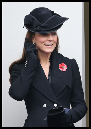 Kate Middleton Black Alexander McQueen Coat Remembrance Sunday 2014