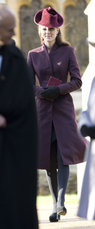 Kate Middleton Aubergine Coat 2011 Christmas Day Service