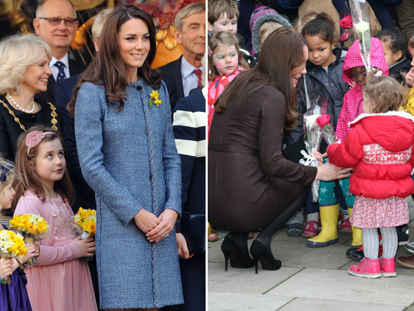 Kate Middleton Accepting Flowers Children