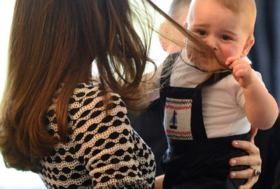 Prince George Grabs Kate Middleton Hair Plunket Date