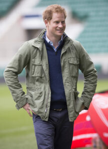 Prince Harry Smiles Green Jacket Twickenham Stadium