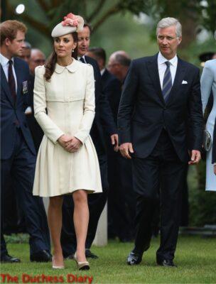 Kate Middleton Cream Alexander McQueen Gown King Phillipe Mons Belgium Aug 2014