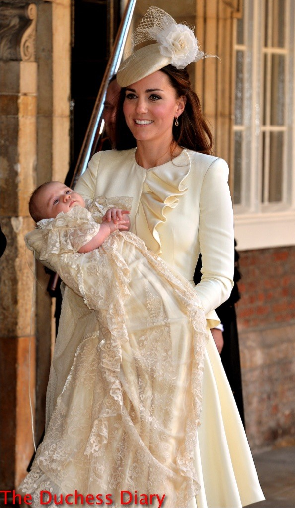 kate middleton holds prince george christening st james's palance