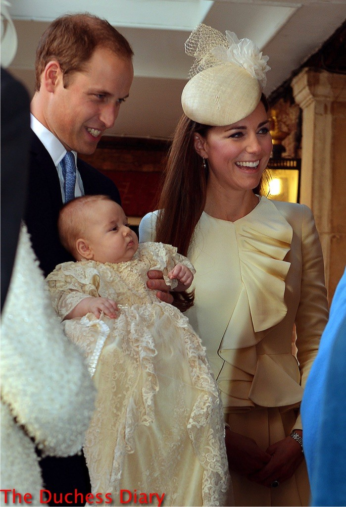 prince william smiles holds prince george kate middleton alexander mcqueen coat royal christening