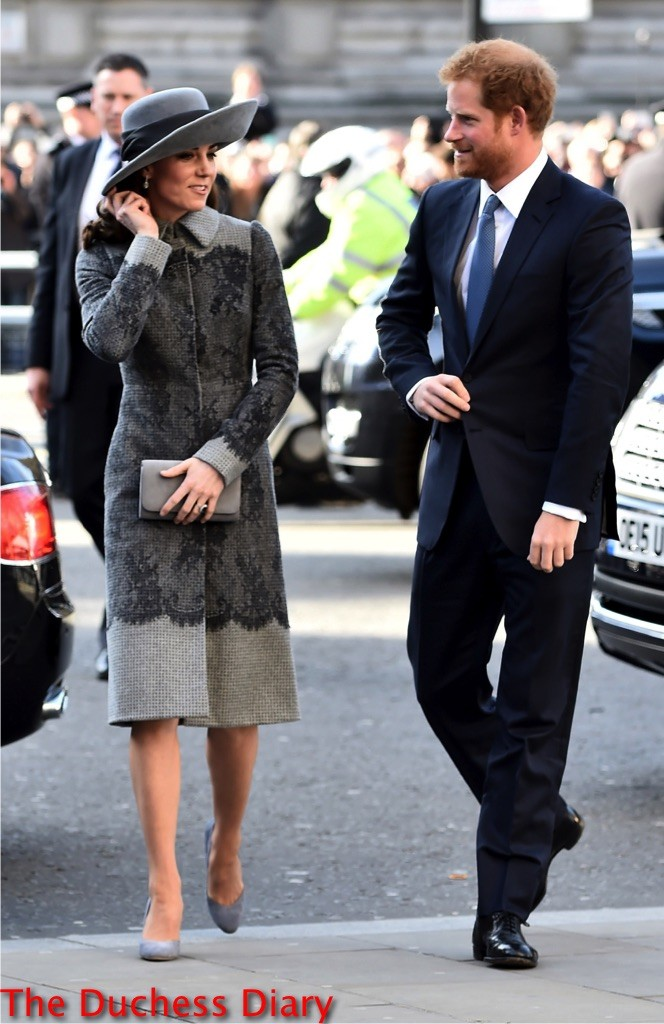 kate middleton erdem grey coat prince harry commonwealth observance day