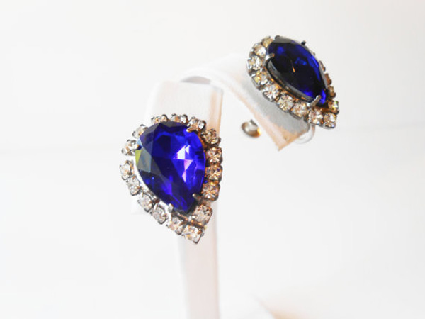 Blue Glass Earrings Sapphire