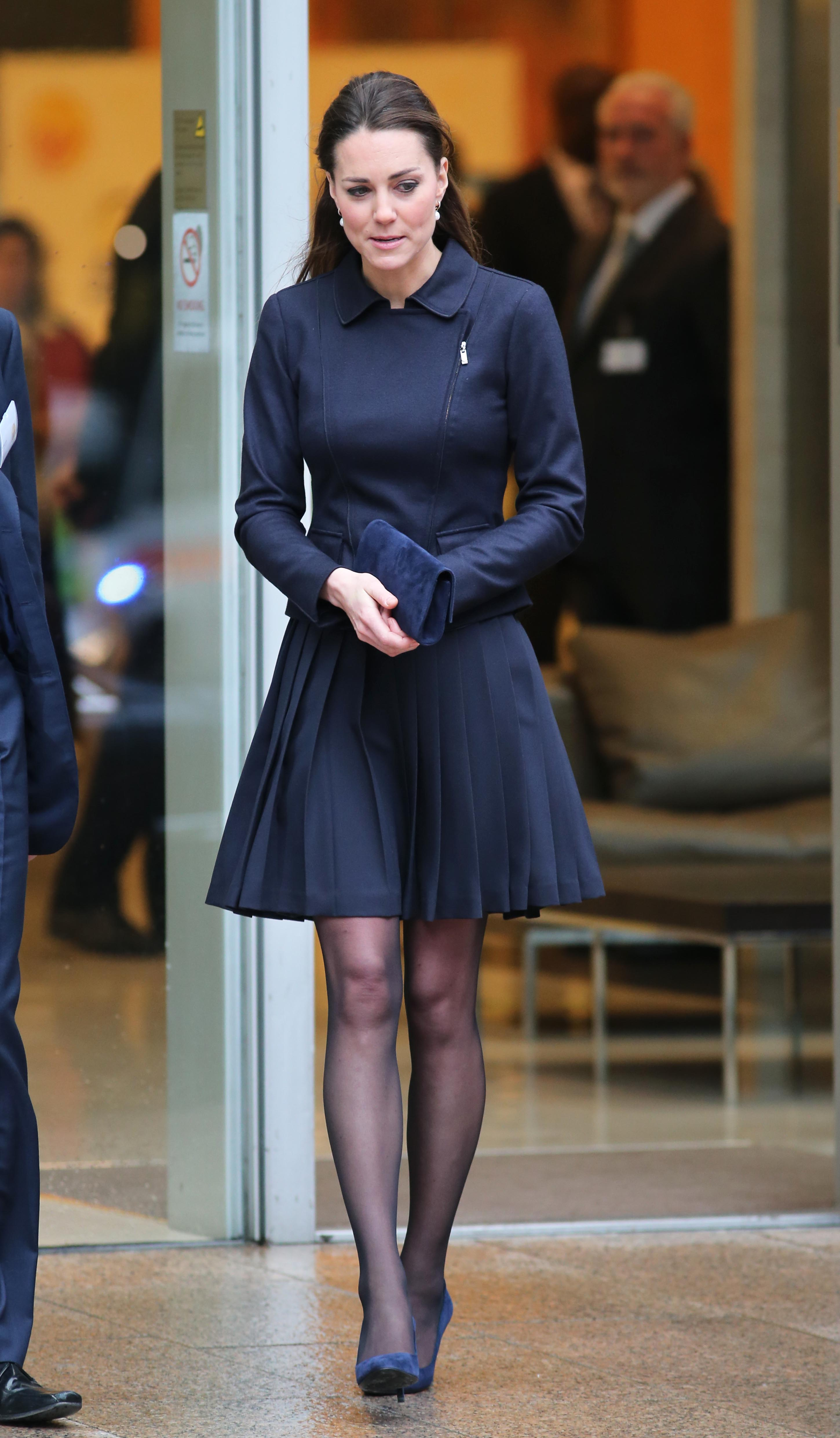 Navy Blue Dress With Black Tights And Shoes