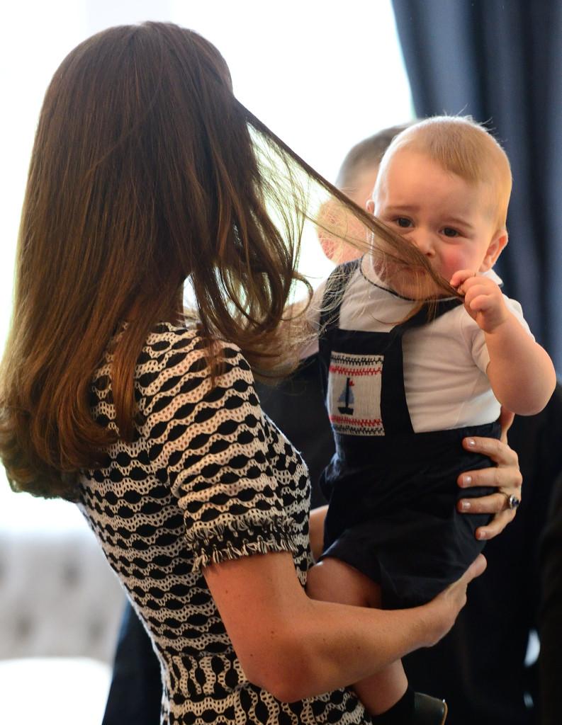 Prince George Grabs Kate Middleton Hair Plunket