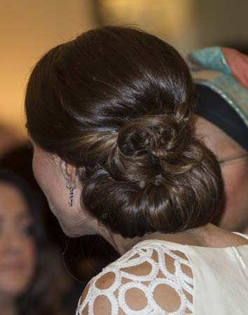 Kate Middleton Up Do Lela Rose White Dress Governor-General Reception