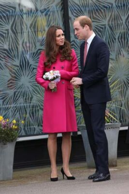 Kate Middleton Pink Mulberry Coat Prince William Stephen Lawrence Center Departure