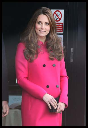 Kate Middleton Curly Hair Mulberry Coat