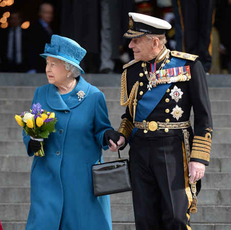 Queen Elizabeth Prince Philip Hold Hands St. Paul's Cathedral