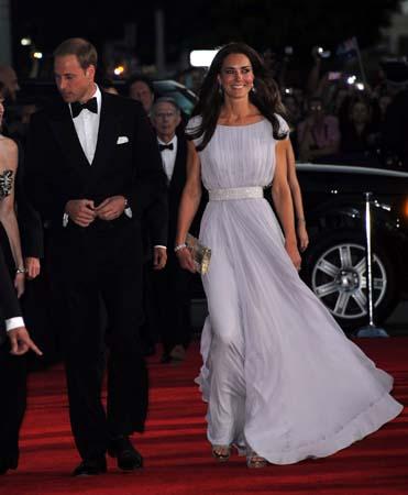 Prince William Tuxedo Kate Middleton Alexander McQueen Gown Belasco Theater Los Angeles BAFTA