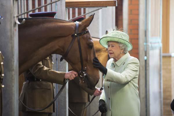 Queen Elizabeth Pets Horse Kings Troop 2013