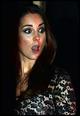 Kate Middleton Shocked Face Alice Temperley Lace Gown Natural History Museum